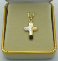 Two-Tone Solid Gold Cross Pendant