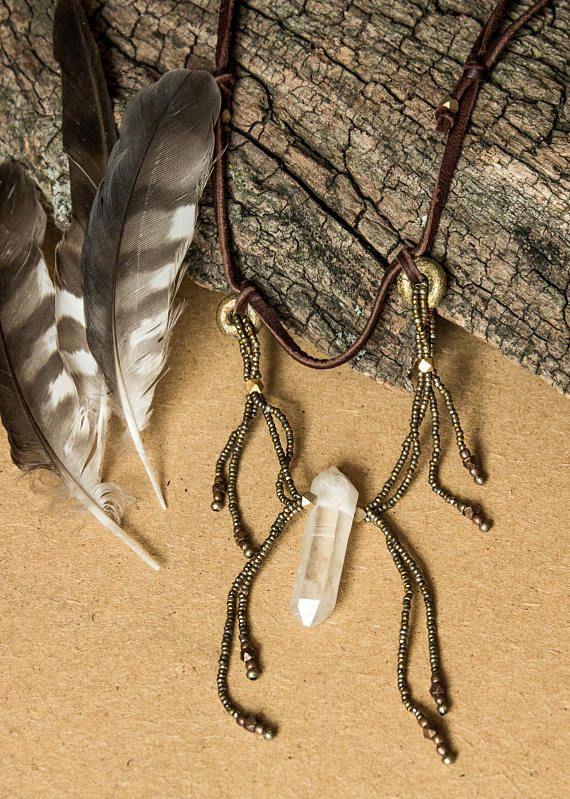 Quartz crystal necklace/ beaded wearable art necklace/ OOAK/