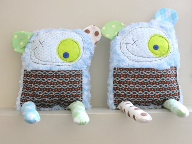 """Minky Monsters (scrap-buster project). I also like her idea of a """"pinterest party"""""""