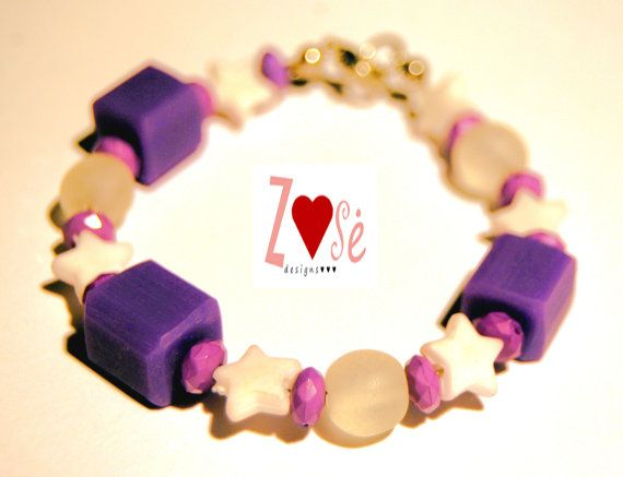 Girls purple bracelet size large. Fits ages 58 by ZoseDesigns, $10.00