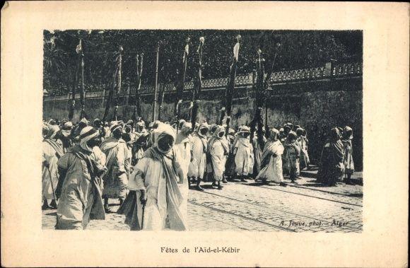 Postcard Oran Algerien, Fetes de l'Aid el Kebir, Araber, Festprozession