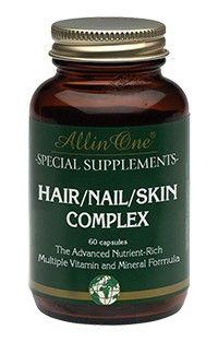 All in One Hair/Nail/Skin Complex Capsules Haar Nagel Huid 60Caps  All in One Hair/Nail/Skin Complex. Bevat Zink wat goed is voor de nagels voor het behoud van een normale huid en glanzend haar. Daarnaast bevatten deze tabletten een combinatie van Vitaminen zoals Vitamine B Complex. Gebruik: Volwassenen: 2 x daags 1 capsule bij voorkeur bij de maaltijd innemen. Aanbevolen dagelijkse hoeveelheid niet overschrijden tenzij in overleg met uw gezondheidsadviseur anders is bepaald.  EUR 16.50…