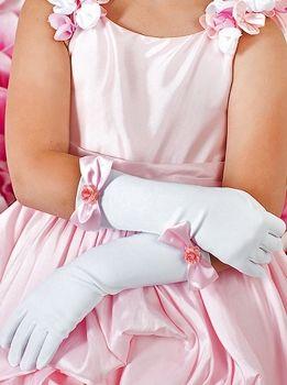 Детские белые перчатки Perlitta с розовыми бантиками. Нарядные перчатки для девочек.