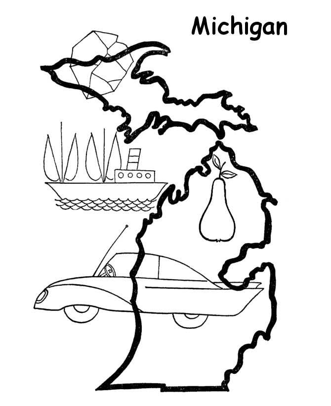 Michigan state outline coloring page coloring pages us for Michigan coloring pages