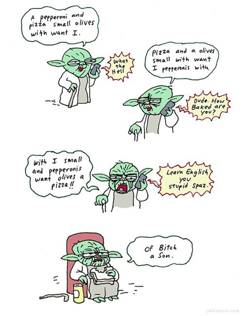 Yoda orders pizza. LOOOOOOLLL: Geek, Laugh, Funny Pictures, Funny Stuff, Stars Wars, Humor, Yoda Order, Order Pizza, Starwars