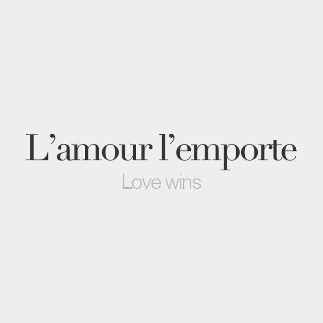 bonjourfrenchwords:  L'amour l'emporte   Love wins   /l‿a.muʁ l‿ɑ̃.pɔʁt/