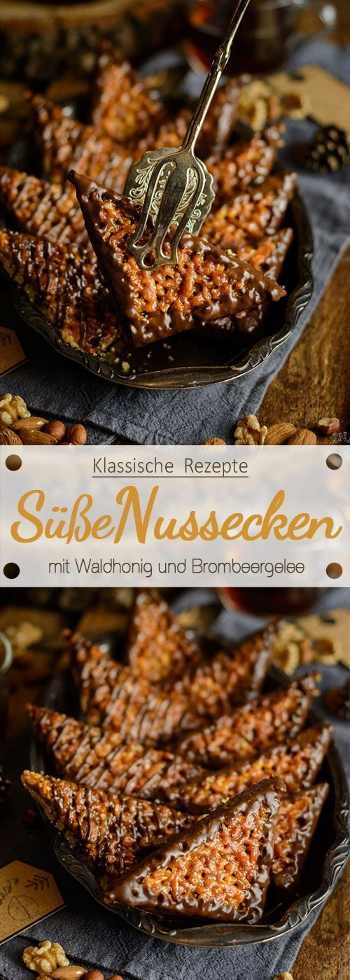 Ein echter Klassiker: Süße Nussecken mit Waldhonig und Brombeergelee