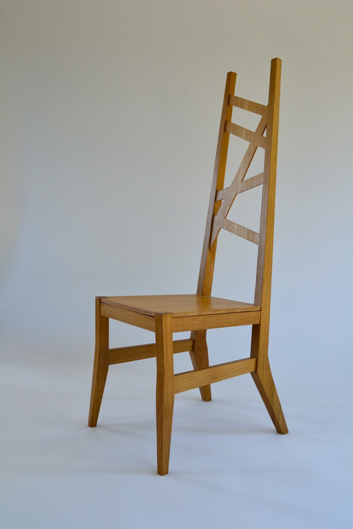 Sam James Designed Fine Furniture Maker and Designer. American White Oak, Hall Chair. 1350mm h x 450mm w x 460mm d