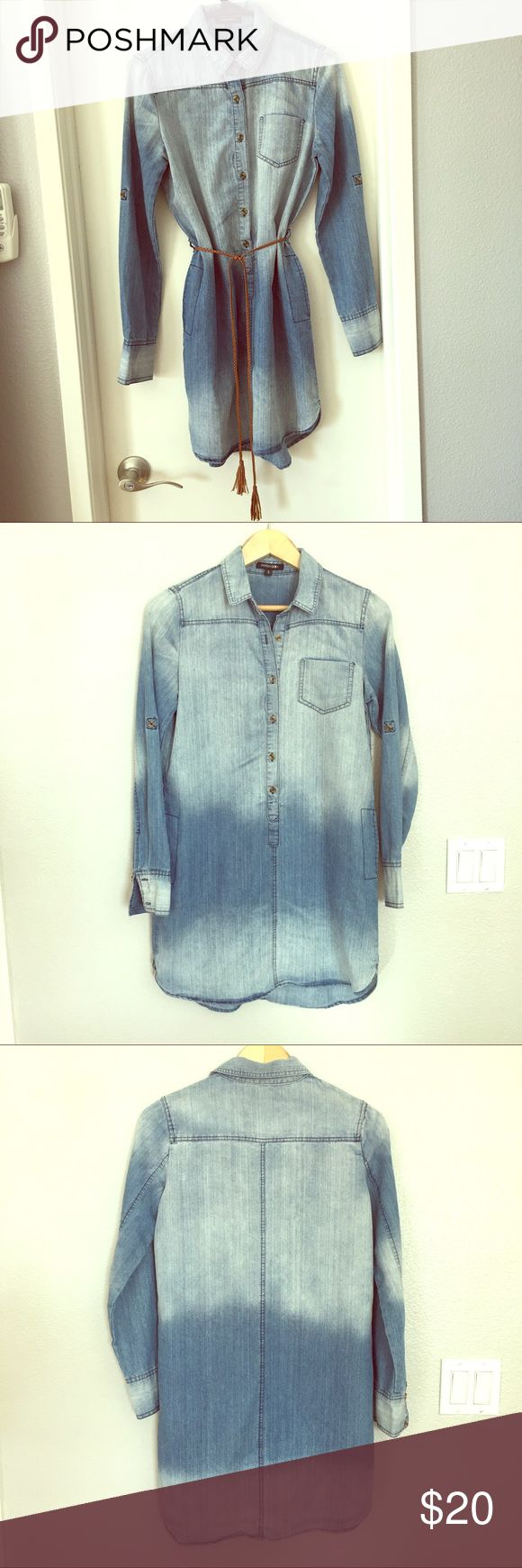 Long Sleeve Denim Dress  with Fringed Tassel Belt Can be worn with or without belt.  Tab to wear sleeves rolled up or down.  Lightweight, soft denim.  Excellent condition.  Smoke-free.  Pet-free. Paper Moon Dresses Long Sleeve