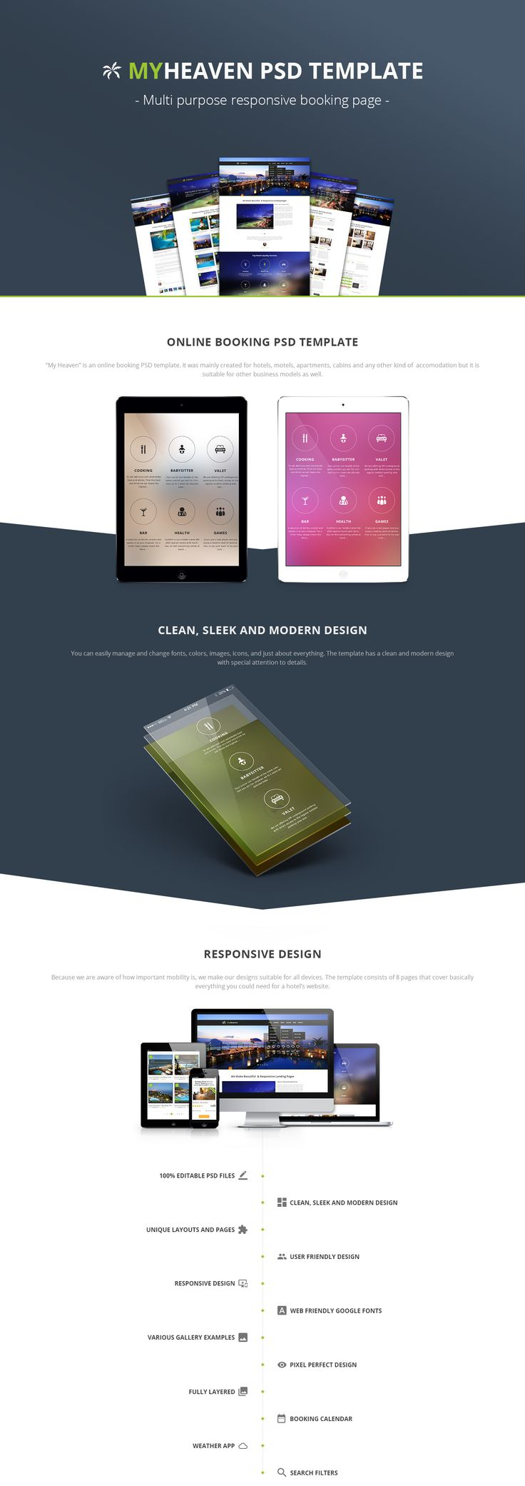 My Heaven is a clean and complete booking PSD template ideal for hotels, guest houses, villas and more.