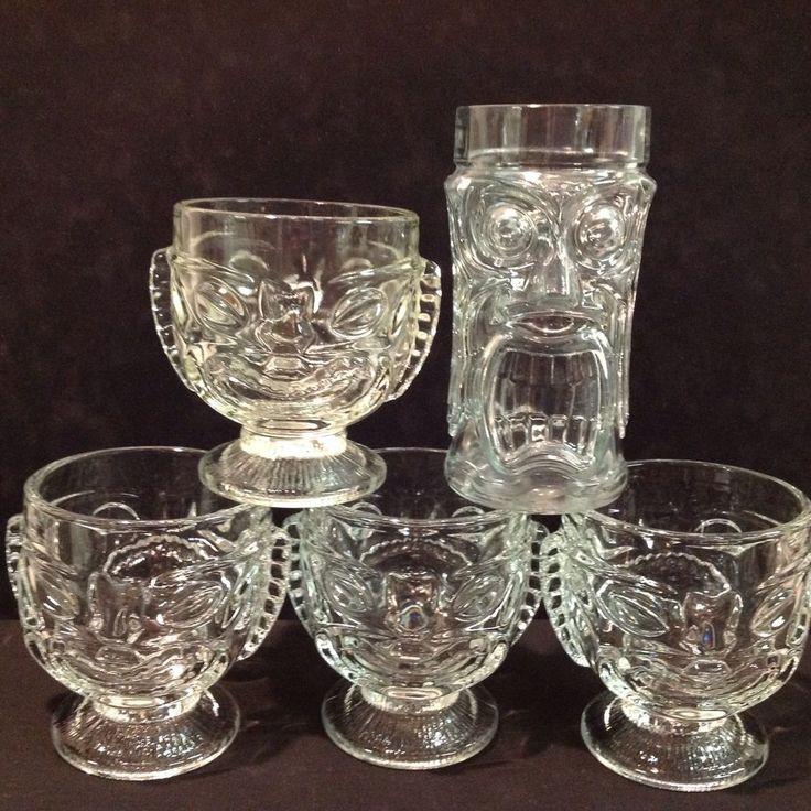Tiki Glass Tumbler Clear Goblet Hawaiian Tropical Polynesian Set of 5
