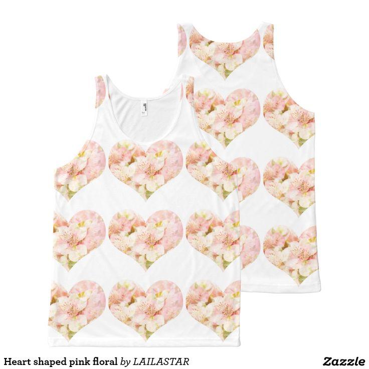 Floral rose en forme de coeur débardeur tout-imprimé