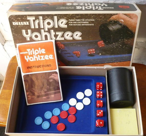 Vintage Deluxe Triple Yahtzee 1979 Milton by ShopHereVintage