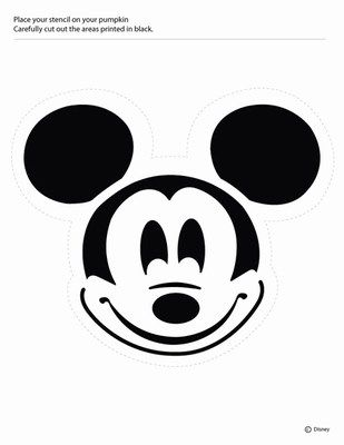 Mickey Mouse Pumpkin Carving Pattern (or stencils for t-shirts)