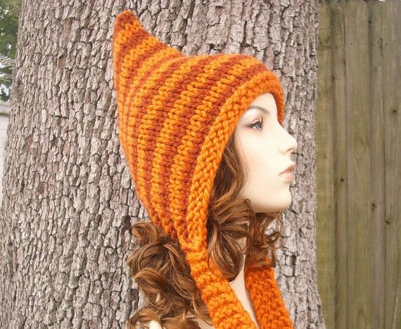 Hand Knit Hat Womens Hat Pixie Hat in Pumpkin and by pixiebell