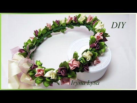 Веночек из бутонов роз своими руками, Crown Headband, Tutorial, flower rose ribbon, DIY  #43 - YouTube