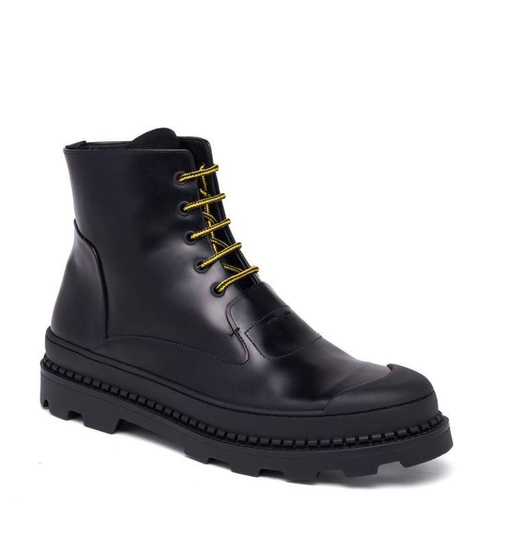 Fendi Palladium Calf Leather Combat Boots Black       $189.00