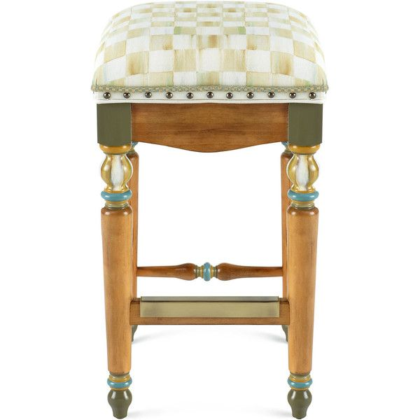 MacKenzie-Childs Parchment Check Barstool ($1,550) ❤ liked on Polyvore featuring home, furniture, stools, barstools, beige bar stools, handmade furniture, ivory bar stools, cream colored furniture and antiqued white furniture