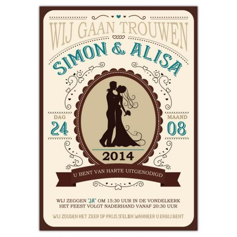 Trouwkaart: Modern/Vintage Western (Groot Formaat)http://www.weddingdesigns.nl/