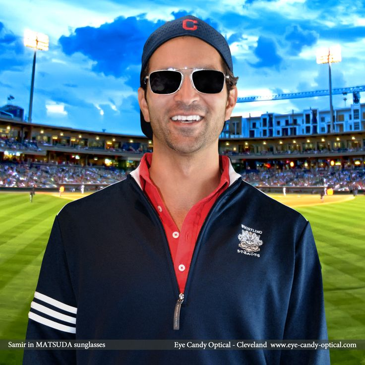 Samir looks totally cool at the baseball game wearing his new designer sunglasses by Matsuda. Eye Candy – Winning the fashion game with the finest handcrafted Japanese Eyewear! Eye Candy Optical Cleveland – The Best Glasses Store! (440) 250-9191 - Book an Eye Exam Online or Over the Phone  www.eye-candy-optical.com