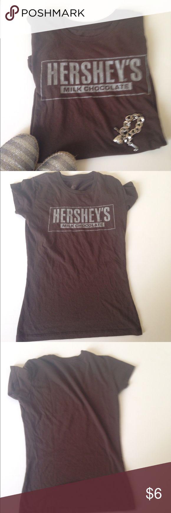 ✳️Hershey Bar Shirt Tee Top GUC. Brown. Silver. Cute Tops Tees - Short Sleeve