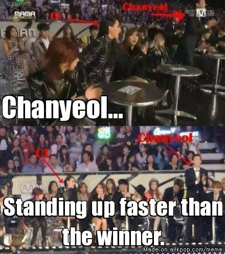 Chanyeol is the ultimate 2NE1 fanboy.  Maybe Dara will finally notice him...