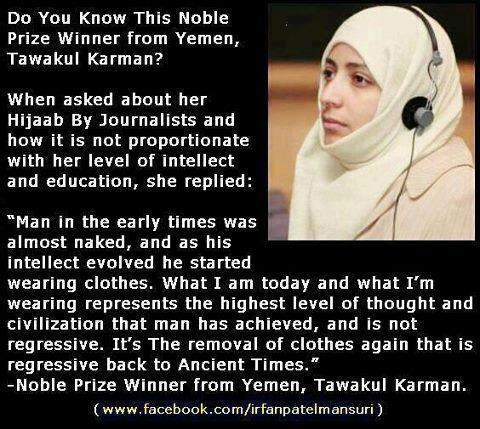Unfortunately, even the smartest of women can interpret the Q'uron in the most extreme ways. Man, not Allah, created this fascination with covering up women.