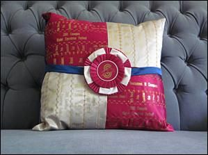 Horse show ribbon pillows; finally something practical to do with old ribbons!