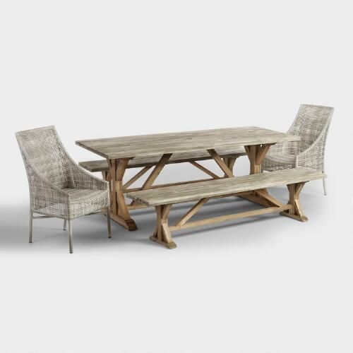 Fit for a sizeable soiree, our acacia wood outdoor dining table is the longest in our selection. A sandblasted, graywashed surface rests on a trestle base finished in natural oil for a two-tone look with rustic appeal and ample versatility.