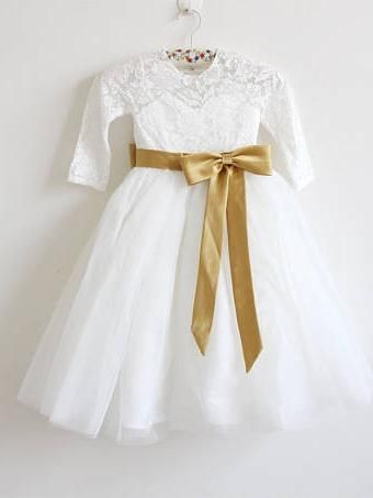 ce2d321e7af Long Sleeve Flower Girl Dresses White Lace Flower Girl Dress with Bow -  SheerGirl