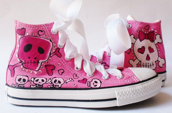 Custom Sneakers Skull and Bows Shoes Hand Painted Converse for Girls, Bubblegum Pink BowHead Chuck T