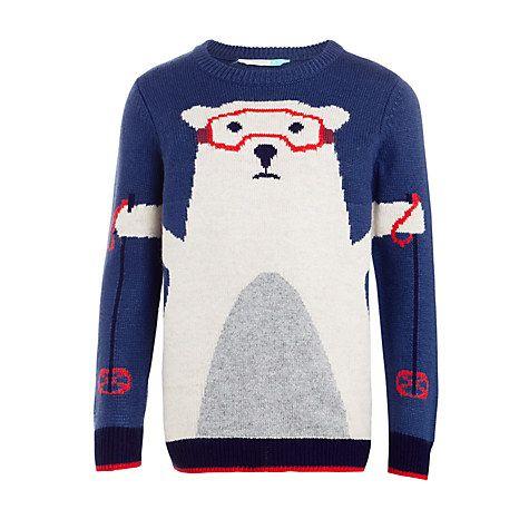 Buy John Lewis Boys' Ski Polar Bear Jumper, Blue Online at johnlewis.com