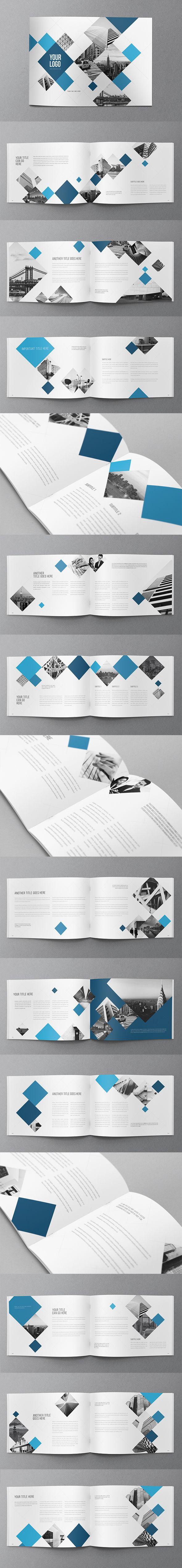 Modern Blue Squares Brochure on Behance