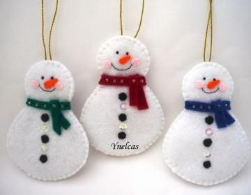 Snowman, Felt Christmas Ornament - ..