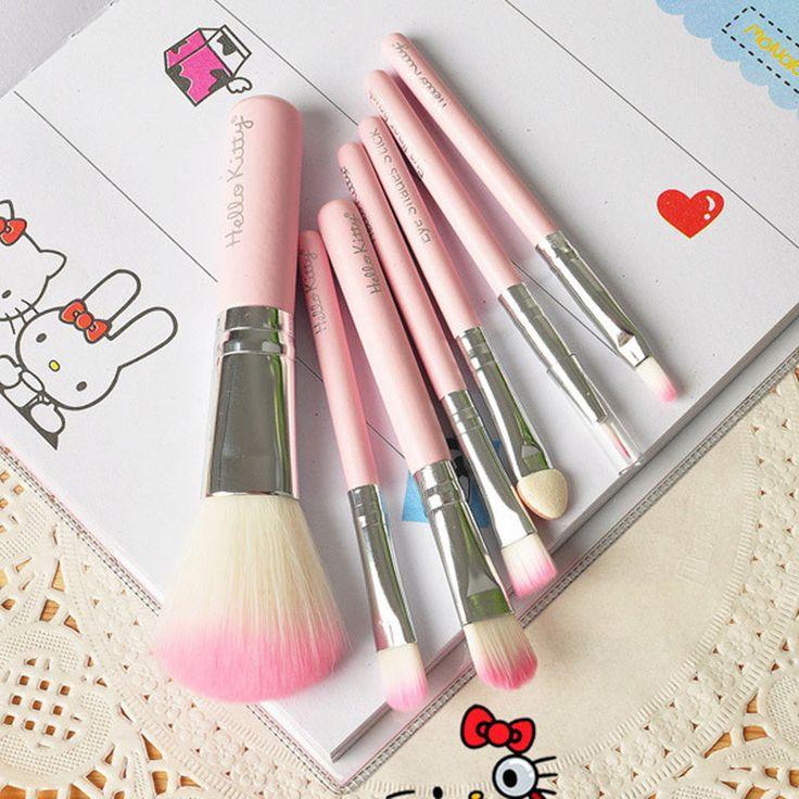 Brand New Hello Kitty 7 Pcs Mini Makeup brush Set Pink Cosmetics Kit maquiagem Make up Tool Hair Foundation Brushes Kit