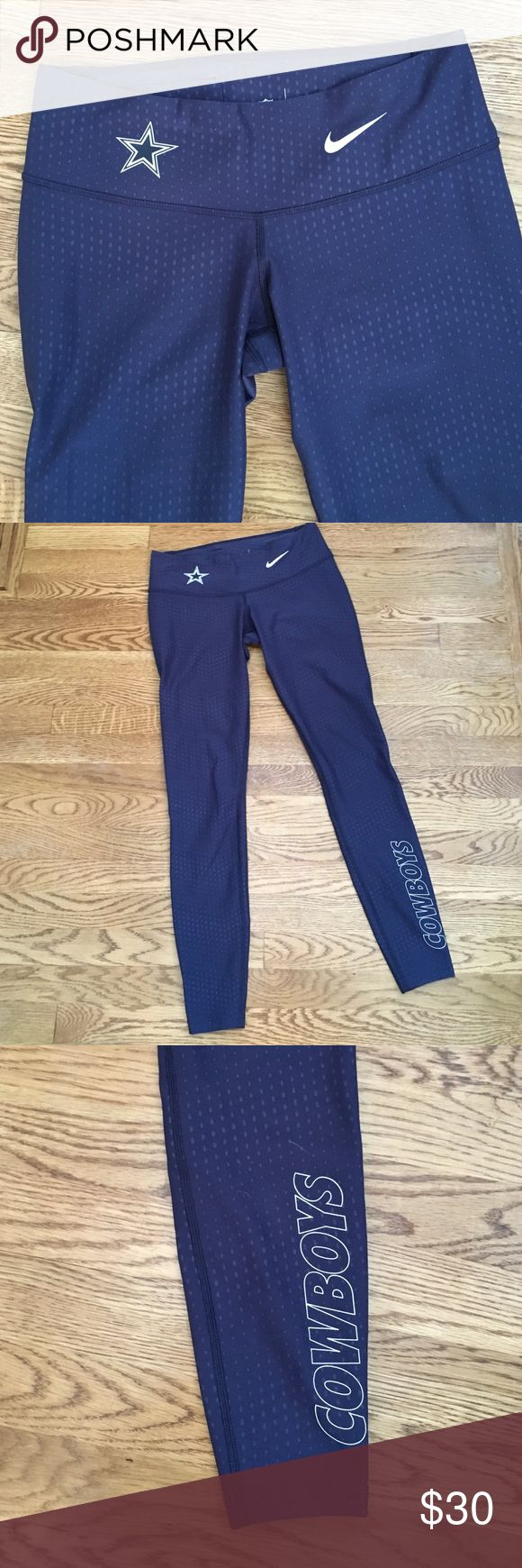 New Listing!  Nike Legend Cowboys Leggings NIKE NFL Team Apparel- Dallas Cowboys Leggings. DRI-FIT polyester/spandex. Navy blue and white. Size small. Excellent preowned condition. Nike Pants Leggings