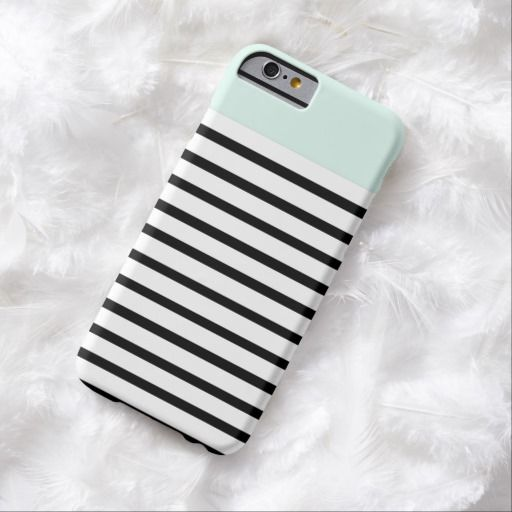 Cute iPhone 6 Case! This mint top stripes iPhone 6 case can be personalized or purchased as is to protect your iPhone 6 in Style!
