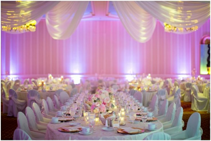 Loving this soft yet colorful ballroom lighting