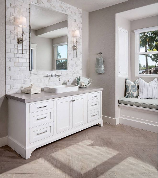 Window Seat In Bathroom? Might Not Be A Bad Idea. Sherwin Williams  Agreeable Gray Is One Of The Most Popular Grey Paint Colors By Sherwin  Williams.