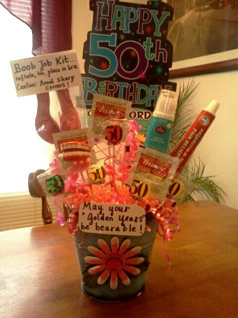 "50th Birthday gag gift bouquet: Hot glue or tape Tylenol/ med packs, mini dentures, arthritis cream, hot flash cooling gel, ""boob job kit"" made from balloons, etc. onto skewers and insert into a bucket filled w/ styrofoam and paper grass.  Decorate w/ rib"