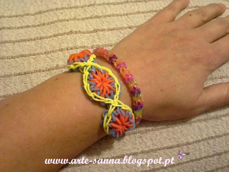 http://arte-sanna.blogspot.pt/2014/05/rainbow-bloom-pulseiras-de-elasticos.html