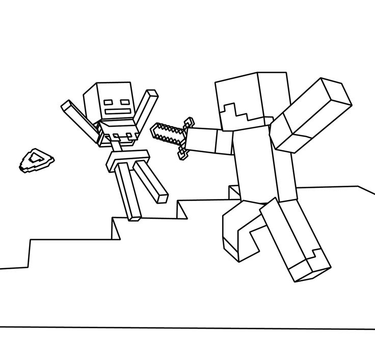 Minecraft Coloring Page Picture Steve And Skeleton More