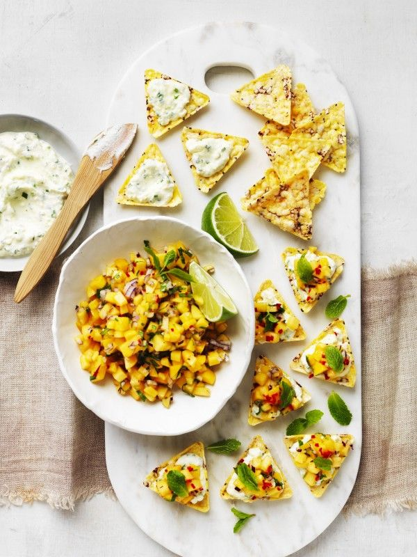 Corn Chip Bruschetta with Mangoes and Herb Ricotta Recipe | myfoodbook