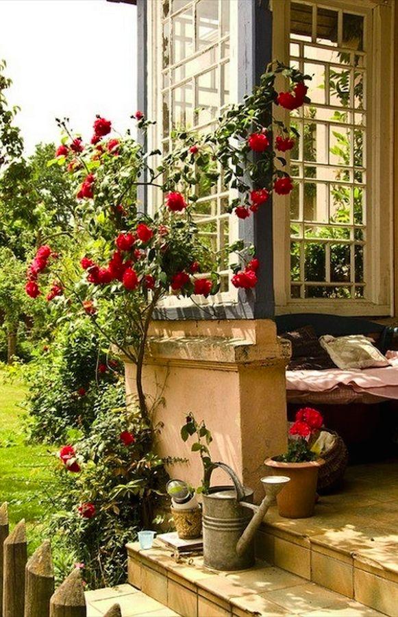Cozy porch reading nook in Fischerhude near Bremen, northern Germany • photo: avotiya on Flickr