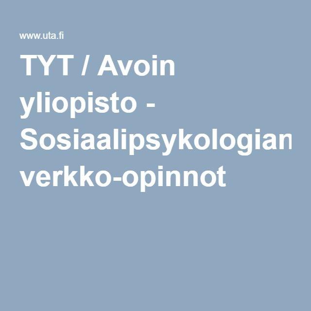 TYT / Avoin yliopisto - Sosiaalipsykologian verkko-opinnot