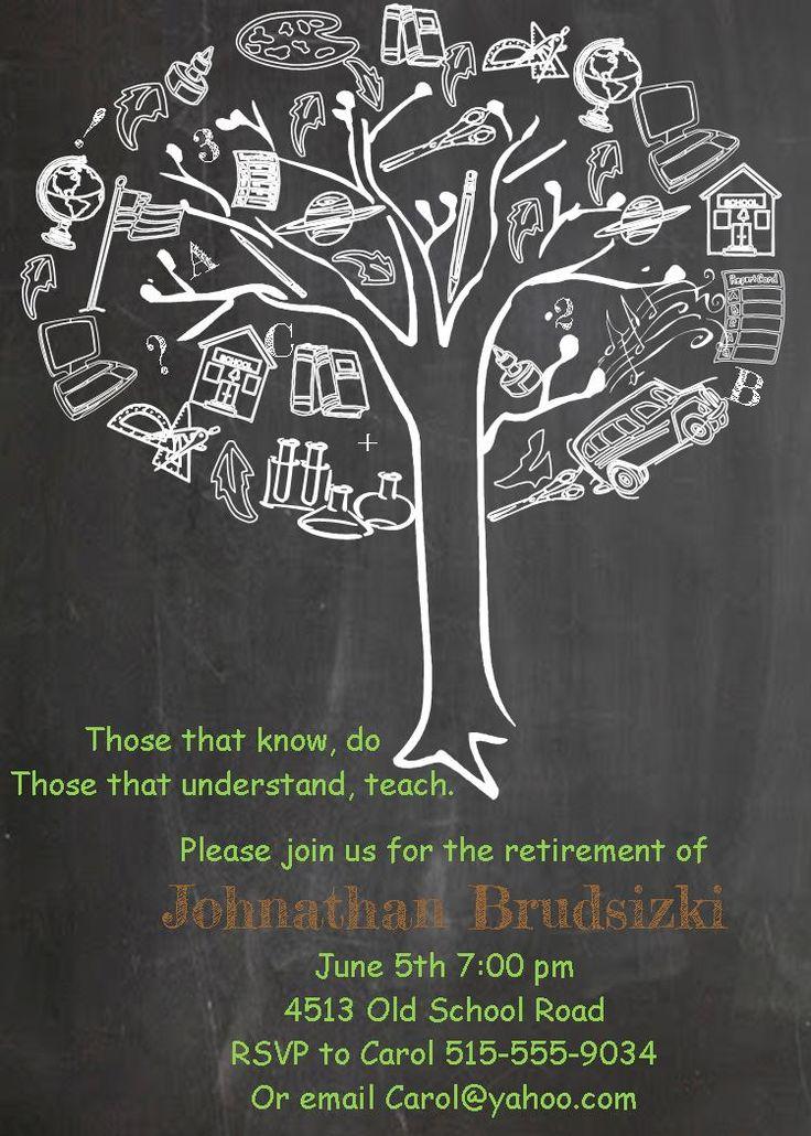 Retirement party invitations- teacher retirement tree chalkboard
