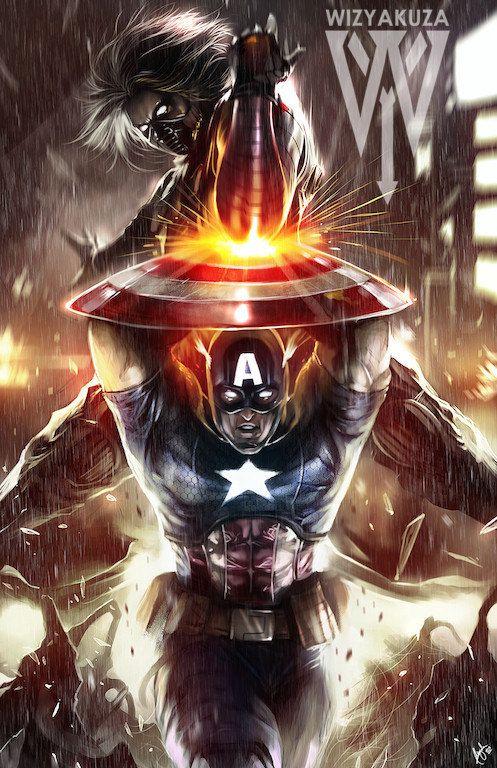 Capitán América vs el soldado de invierno - Impresión Digital de 11 x 17