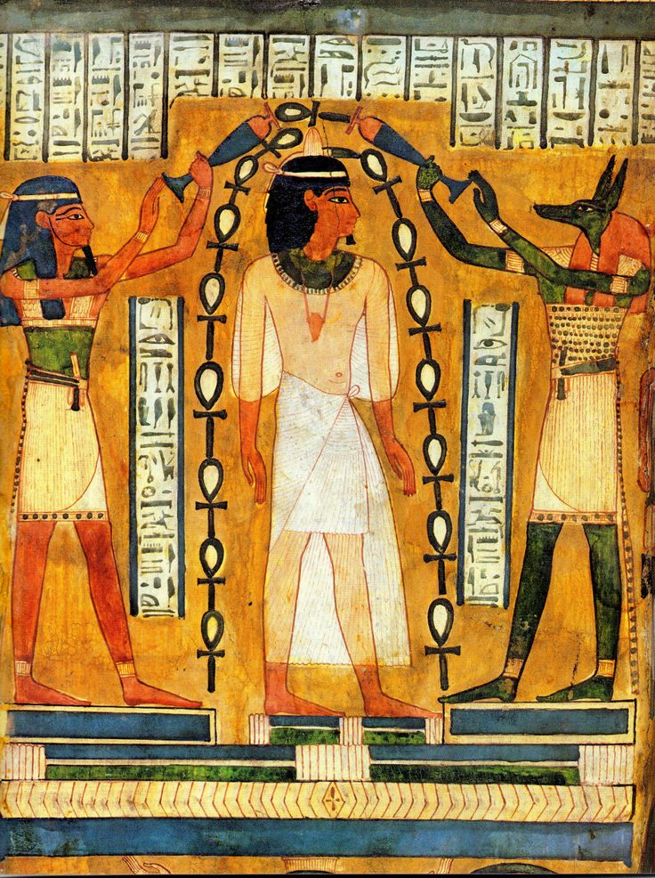 """aswiftfooted: """" Baptism of Pharaoh Amenhotep I, a purification ritual, by the gods Anubis and Maat. """""""