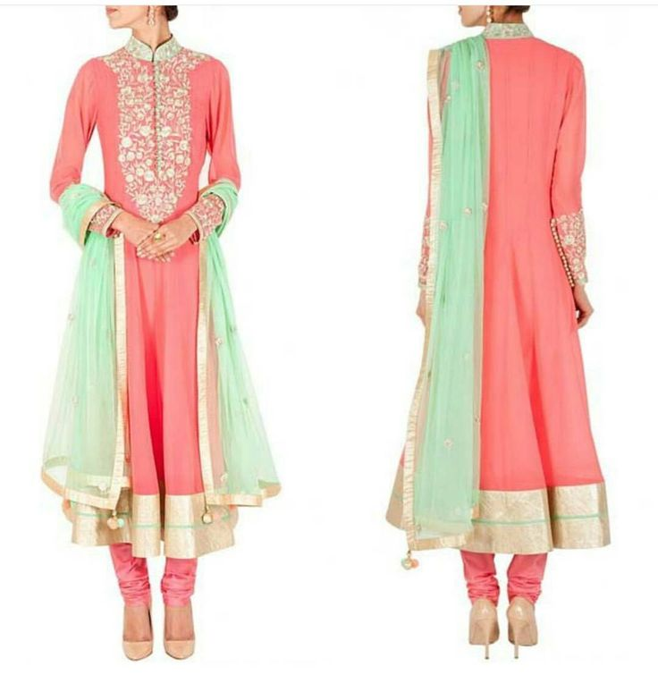 Peach zari work embroidered anarkali set Fabric : Semi Georgette Work : Gold zari work with embroidery detail on collar  yoke and cuffs Comes with matching shantoon churidar and a sea green chiffon dupatta with zari buttis and tassels Available only @ 3399 INR COD and Free shipping available in India DM us for original images  Note : Limited Stock Available Only  To place an order call / whatsapp : 91 9054562754
