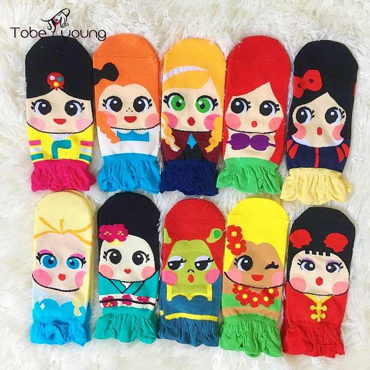 2016 New Ladies Socks Womens Girls Cartoon Cotton Low Cut Ankle Socks Princess Anna Elsa Fiolla Jasmine Mermaid Fashion